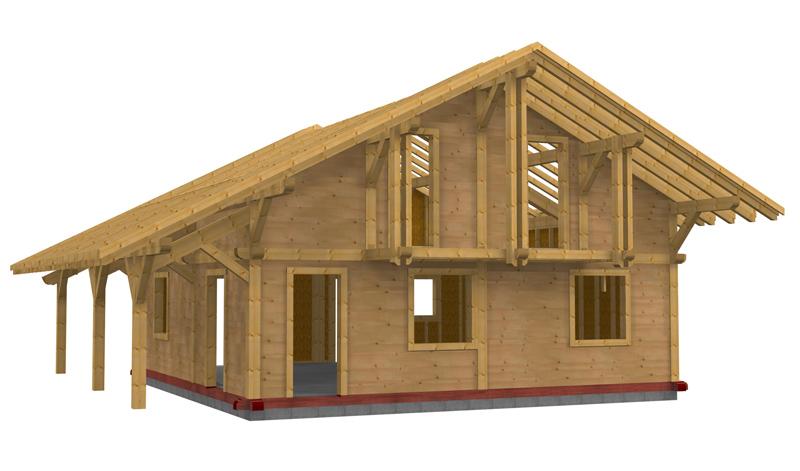Le poteau poutre solutions bois merotto for Constructeur de maison en bois poteau poutre